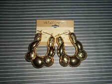 ~VINTAGE 1980S LARGE  HIP HOP  CHUNKY GOLD TONE 14KT.G.F EARRINGS  RARE!!!!