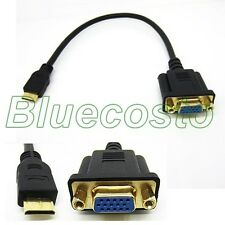 0.3M 1080P 1FT Mini HDMI Male to VGA HD15 Female M/F Connector Adapter Cable BLS