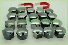 20x Universal Wheel Nut Covers 17mm Hex SMOKED CHROME comes with Removal Tools