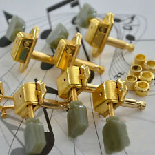 Deluxe Gold Guitar Tuning Pegs Tuners Green Button For Guitar Keys Machine Heads