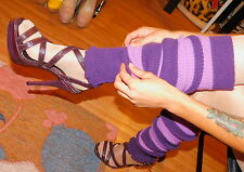 "Sexy Strappy, 6"" Purple High Heels, Open toe, Faux Reptile, 9, Paprika"