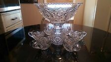 100+ Year Old Two Peice... 6 Cup Punch Bowl Set.. Press cut