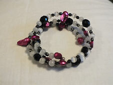 Beautiful Wrap Bracelet Plum White Black Beads 1 Inch Wide CUTE
