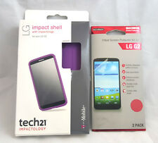 Tech21 D3O Impact Shell with Impactology For LG G2 purple screen protector free.