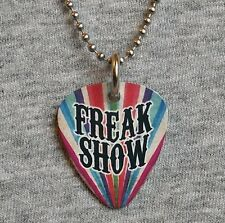 Metal Guitar Pick Necklace FREAK SHOW sideshow circus freaks fire eater pendant