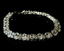 14k White Gold Tennis Bracelet made w/ Swarovski Crystal Clear Stone Bridal 7.0""