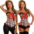 Lingerie Sexy Burlesque Red Tartan Fashion Corset Top S-8 M-10 L-12 XL-14 2X-16