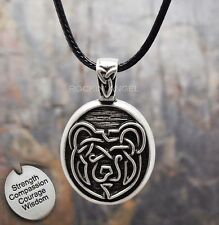 Antique 925 Silver Plt Bear Pendant Necklace, Ladies Mens Gift Viking Norse Knot