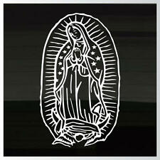 """Virgin Mary Guadalupe LARGE 15"""" x 9"""" Outdoor Durable WHITE Decal Sticker"""