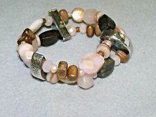 Silpada B1418 Stretch Bracelet 2 Strands Silver Rose Quartz Wood Beads & Pearls
