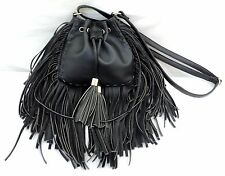 Kiss Me Couture Black Vegan Leather Fringed Crossbody Purse EUC!