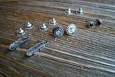Rhinestones Silver Feather Heart Earrings Set Gypsy Boho Cowgirl Fashion Jewelry