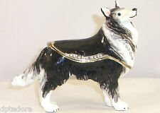 TREASURES COLLIE BEJEWELED HINGED TRINKET / JEWELRY / PILL BOX