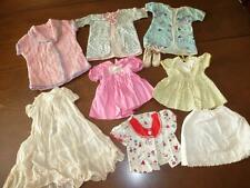 9 Pc LOT Vintage DOLL CLOTHES Dresses Chenille Robe Flannel  DOLSHOE 18-20