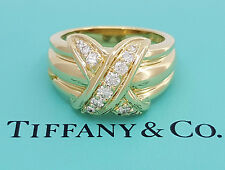 "Tiffany & Co 18K Yellow Gold 0.40 ct Diamond Signature ""X"" Kiss Ring Large 13.4g"