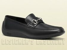 GUCCI mens 10G Black palladium Horsebit SILVERSTONE Moccasin shoes NIB Auth