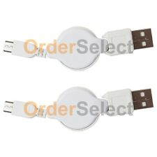 2 USB White Retract Battery Charger Cable for Android Samsung Galaxy Note 1 2 3