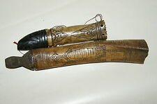 2 Old Shaman Buffalo Bone Scrimshaw Betel Containers Frog + Ancestor lids BN31