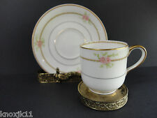 1903 Haviland LIMOGES FRANCE Espresso DEMITASSE CUP & SAUCER Pink Roses Mark P