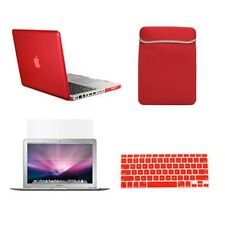 "4 in1 Crystal RED Case for Macbook PRO 13""+Keyboard Cover+LCD Screen+Sleeve Bag"