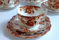 Tasse thé soucoupe trio english bone china vintage antique wellington rouille