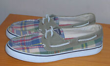 Sperry Top Siders Bahama Plaid Boat Shoes Green / Blue/ Red Womens sz 10