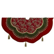 "Kurt Adler 52"" Red Green Christmas Tree Skirt Filigree Scallop Tassel Edge C7531"