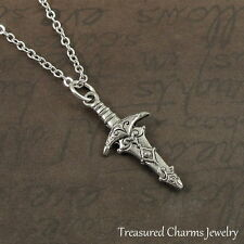 Silver Excalibur Sword Charm Necklace - King Arthur Medieval Dagger Jewelry NEW