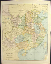 CHINA PROPER Antique 1885 Map Victorian engraved chromolithograph print