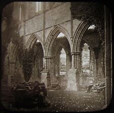 Glass Magic Lantern Slide TINTERN ABBEY NORTH TRANSEPT ARCHES C1890 PHOTO WALES