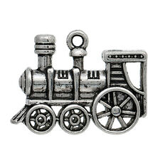 5 LARGE ANTIQUE SILVER 3D STEAM TRAIN CHARM/PENDANT 28mm Crafting~Keyrings (21G)