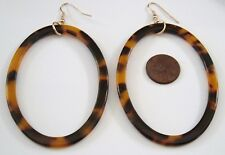 "2 7/8"" BIG OVAL HOOP FAUX TORTOISE TURTLE SHELL GOLD DANGLE PIERCED EARRINGS"