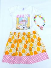 Cotton Laundry sz 6 Custom Lemonade Stand Lemons T-Shirt Dress & Necklace Set
