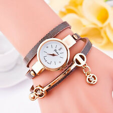 Womens Fashion Watch Ladies Leather Rhinestone Analog Quartz Wrist Watches Brown
