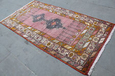 "Vintage Handmade Turkish Oushak Wool Pink Area Rug Carpet 245x120 cm, 98""x48"""