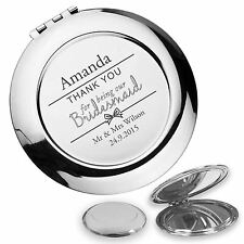 Personalised engraved BRIDESMAID compact mirror wedding gift idea - BW1