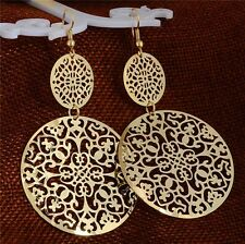 Retro Gold/Silver Plated Round Filigree Hollow Out Flower Dangle Drop Earrings