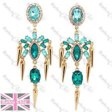 "3.75""long BLUE AQUA rhinestone CHANDELIER EARRINGS turquoise gold PROM crystal"
