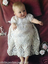 Vintage crochet pattern-how to make sweet lace crochet baby christening dress