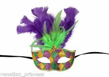 Mardi Gras Venetian Hand Painted Masquerade Mask w/ Feathers MGM001A Unisex NEW