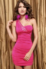 Hot Pink One Shoulder Jewel Stretch Ruched Mini Dress Club Valentines 2492