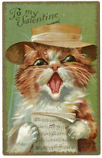Maurice Boulanger Cat To My Valentine Singing Straw Hatted Cat