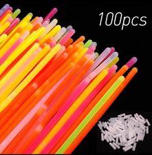 """100 x 8 """"Glow Sticks Glow Pulseras Neon nuestra estación Pulseras Collar partes del Reino Unido"""