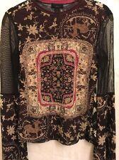 ANAC Gorgeous Long Sleeve STRETCHY Mesh Blouse Black Burgundy M