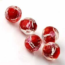 5 PCS faceted Red Crystal Murano Glass FootBall Loose Beads Charms Fit DIY