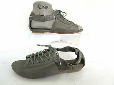 Caterpillar legendary raw grey sparkle leather lace & ankle strap sandals UK 4