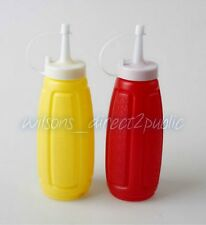 2pc Squeeze Plastic Sauce Bottles Red Yellow Ketchup And Mustard Dispenser BBQ