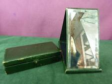 very Nice vintage dressing table Leather covered folding mirror and trinket box