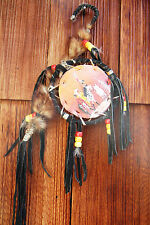 Small Vtg Handmade INDIAN painted Dream Catcher Fur Leather Sinew Gypsy Boho