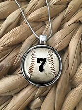 Baseball Team Number Mom Player Glass Pendant Silver Chain Necklace NEW